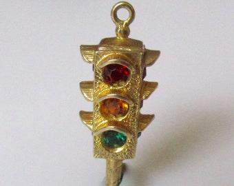 Gold Traffic Lights Gem Set Charm or Pendant