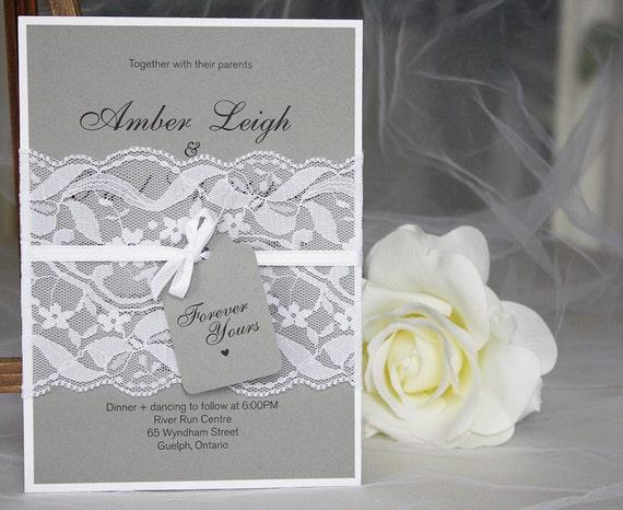 Grey And White Wedding Invitations Lace Wedding Invitations