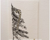 ACEO - Limited Ed., Black  White Christmas Tree with Gold and White Candy Cane - Fine Art Print with Hand Embellishment - Miniature Artwork