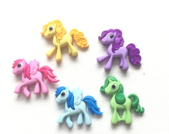 Last One! Pony Magnets, Set of 5 Colorful Ponies, Pegasus Magnets, Refrigerator Magnets, Kitchen Decor
