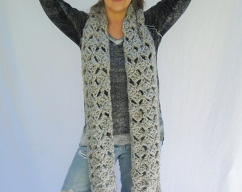 scarf with fringe,chunky scarf, lace, oversized scarf, knit scarf, cowl, neckwarmer, wrap, shawl / The Madeleine Scarf - grey marble