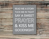 Read Me a Story Tuck Me in Tight, Childrens Print, Boys Nursery, Girls Nursery Decor - Print by MJDandSupply