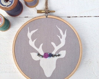 Woodland Deer Embroidery, Woodland Decor, Baby Gift, Woodland Nursery, Little Girls Room, Gifts Under 20, Baby Shower Gift, New Baby