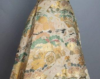 "Vintage 1950s Betty Higgins Satin Brocade Asian Dress Size Small 26"" Waist"