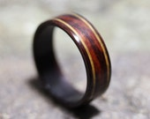 East Indian Rosewood Ring with Cocobolo and Lignum Vitae Inlay - Bentwood Ring - And We Plant A Tree:)