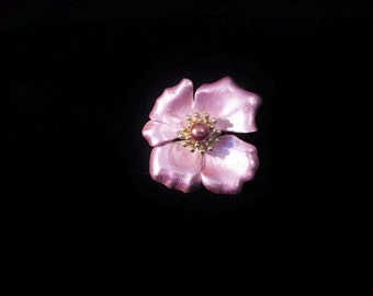Beautiful Flower Brooch/Pin/Vintage/Pink Metallic/Raised Center
