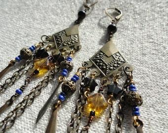 Bronze Age Chandelier Earrings