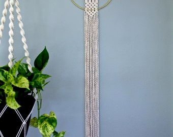 "Macrame Wall Hanging - 50"" Natural White Cotton Rope w/ 10"" Brass Ring - Boho Home, Nursery, Wedding Decor - MADE TO ORDER"