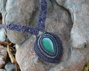 Handmade Micro Macrame Aventurine Necklace/ Gemstone/ Crystal