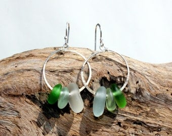 Hawaiian Small Emerald Green, Aqua, & Clear Beach Glass on Hammered 925 Sterling Silver Circular Wire Small Hoop Earrings