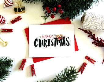 Christmas Card Pack - 'Merry Christmas' (Set of 5), Christmas Cards, Christmas Card Set, Holiday Cards