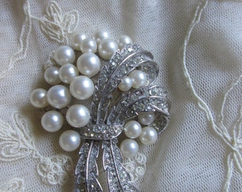 Vintage Crown Trifari Pin Faux Pearl and Rhinestone Bouquet Brooch Vintage Costume Jewelry Signed Bridal Bride wedding MoonlightMartini