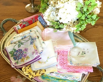 Vintage Hankies - Happy Tears - Farmhouse - Hanky - Wedding Favors - Guests- Gifts - Handkerchiefs - Floral - Vintage Wedding Hankies  (10)