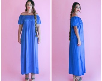 cobalt blue maxi dress/ off shoulder ruffle blue dress/ 1970s/ small - large