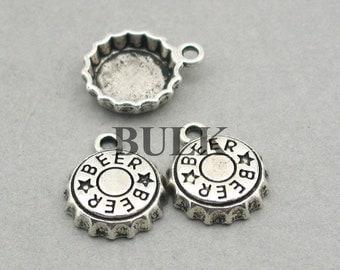 Beer Bottle Cap Charms BULK order 3D Antique Silver 30pcs zinc alloy pendant beads 14mm CM0873S