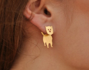 Westie Earring , Dog Ear Jacket Earring , Front Back Earring , West Highland Terrier Dog Jewelry , Gold Ear Jacket , Dog Breed Earrings