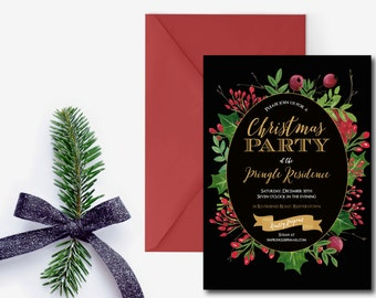 Christmas Party Invitation, Holiday party invite, Floral Christmas party invitation, printable