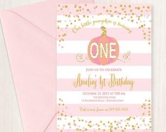 Little Pumpkin Invitation, First Birthday Invitation, Printable, DIY, Pink Pumpkin Invitation, Gold and Pink