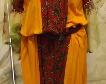 Boho Gypsy Chic Marigold red paisley pheasant dress large 1970
