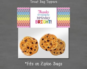 INSTANT DOWNLOAD Rainbow Bright Birthday Treat Bag Toppers --DIY Printable; Goodie Loot Candy Treat Printable Bag Topper Chevron Rainbow