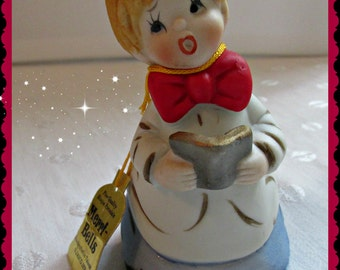 Merri Bells Choir Boy Porcelain Christmas Bell Ornament Jasco 1978