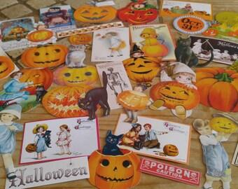 HALLOWEEN SCRAPART EPHEMERA Victorian Halloween Vintage Halloween Reproduction Diecuts Halloween Scrapbook Supplies Ephemera 36+ pieces