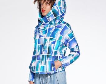 SUMMER SALE Ocean waves pattern organic cotton hoodie for women