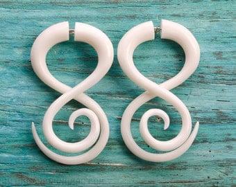 Fake Gauge Earrings White Bone Tribal Double Infinity Spiral Earrings - Gauges Bone - FG037 B G1
