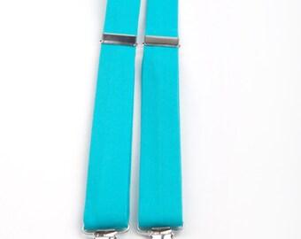 Turquoise Suspenders, boys suspenders, teal suspenders, toddler suspenders, turquoise braces, turquoise wedding, ring bearer outfit, aqua