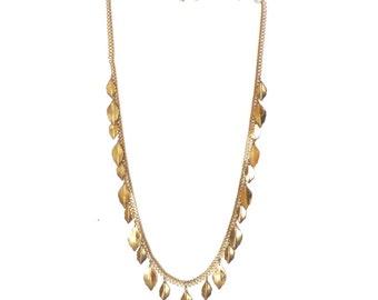 Vintage Trifari Leaf Necklace Gold Tone