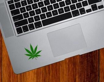 """TP - Cannabis Leaf - Pot Leaf - Trackpad / Keyboard - Vinyl Decal Sticker - Yadda-Yadda Design Co. (2.5""""w x 2.5""""h) (Color Options Available)"""