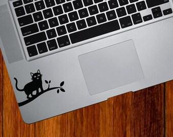 """TP - Cat on Branch - Design 1 - Trackpad / Keyboard - Vinyl Decal Sticker - Copyright © Yadda-Yadda Design Co. (3""""w x 1.75""""h) (BLACK)"""