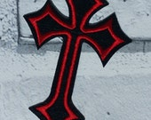 Red & Black Crucifix Cross Embroidered Patch Applique Very Gothic Emo Punk