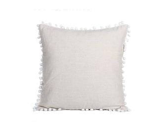 Classic Beige Cushion Cover Adorned With White Pom Pom Trim (DE7573CS-8C40)