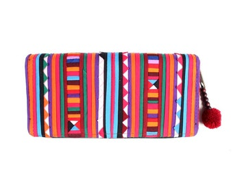 Vintage Wallet Hand Embroidered Clutch Hill Tribe Fabric Fair Trade Thailand (BG800LS.1)