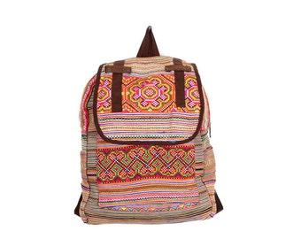 School Backpack Handmade HMONG Vintage Fabric Fair Trade Thailand (BG510.1)