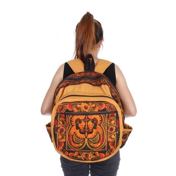 Orange Birds Backpack Book Bag Handmade HMONG Village Fabric Fair Trade Thailand (BG125-OB)