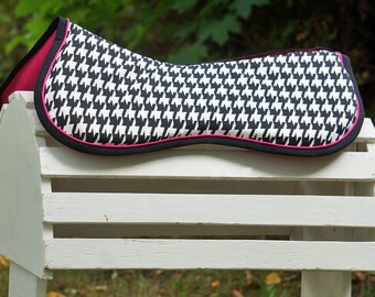 Ready to Ship - Black, White, and Pink Houndstooth Jumper Memory Foam Half Pad or Cover