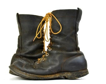 1961 Early Vietnam Rough Out Leather Cord Sole Jump Boots, Womens 8 Mens 6 EE