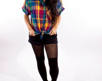 XMAS in JULY SALE : 1980s plaid shirt