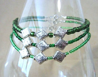 Green Glass Bead Anklet w/Silver Engraved Metal Beads, St Patrick's Day Jewelry Ankle Bracelet Celtic Jewelry Beaded Anklet Handmade Jewelry