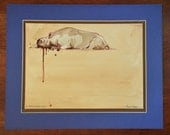 Dehorned Black Rhino or Rhinoceros Illustration, Animal Art by Casey Perez, Original Fine Art Painting Study with Frame and Matte