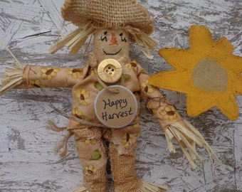 Primitive FALL HALLOWEEN Scarecrow with Sunflowers