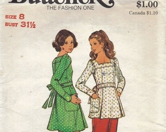 1970s Long Shirt with Belt Pattern, Dress, Tunic and Pants Pattern, Long Sleeve Dress Pattern, Flared Pants Pattern, Size 8 Bust 31 Inches