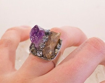 "Multi-Mineral Cluster ""Collage Ring"" with Amethyst and Hessonite Garnet-Rough Cut Stones-Adjustable Ring-on Sale!"