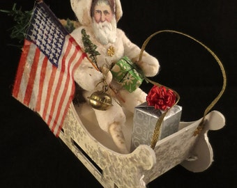 Reproduction German Style Spun Cotton Santa in Fully Loaded Artisan Made Sleigh