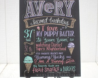 "Second birthday chalkboard style custom ink drawing on 15""x20"" art board, the original Favorite Things Poster™"