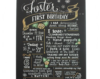 "18""x24"" canvas, first birthday chalkboard style custom ink drawing, the original Favorite Things Poster™"