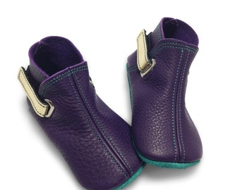 Handmade purple, gold and jade baby boots.  Leather baby girl boots.  Soft soled baby shoes.