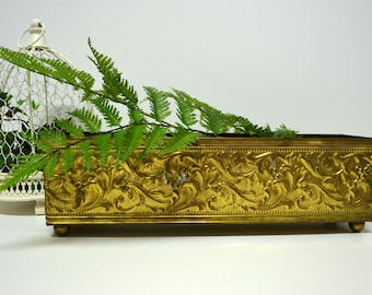 Vintage Brass Windowsill Planter / Long Narrow Embossed Brass Planter